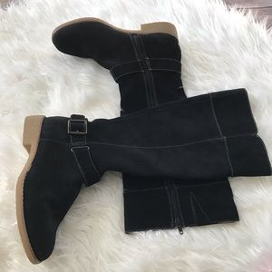 NWOB tall black suede boots by Lands End